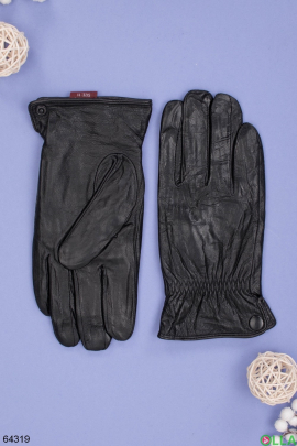 Мужские зимние черные перчатки на меху