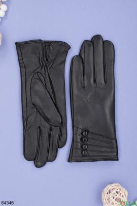 Женские зимние черные перчатки
