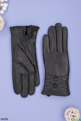 Женские зимние черные перчатки на меху