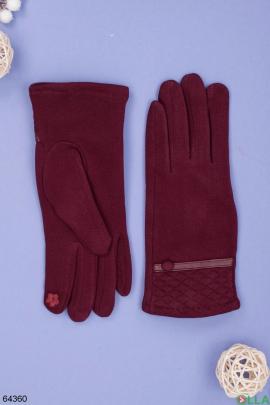 Женские зимние бордовые перчатки на меху