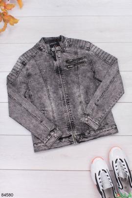 Мужская серая джинсовая куртка