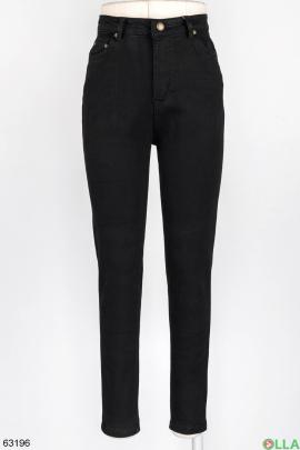 Женские черные джинсы на флисе