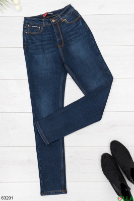 Женские джинсы синего цвета на флисе