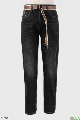 Мужские темно-серые джинсы с ремнем