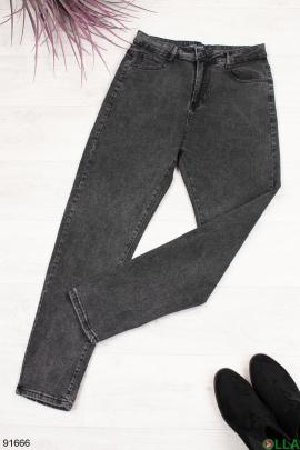 Женские темно-серые джинсы с ремнем