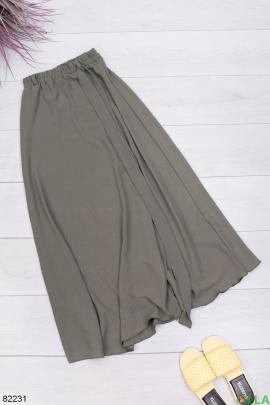 Женская юбка цвета хаки с поясом