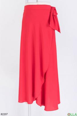 Женская красная юбка с завязками