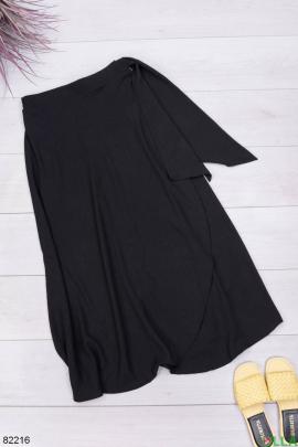 Женская черная юбка с завязками