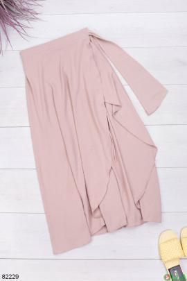 Женская бежевая юбка с завязками