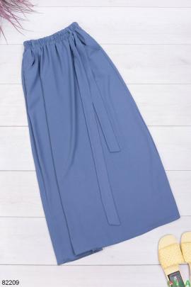 Женская синяя юбка с поясом