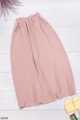 Женская бежевая юбка с поясом
