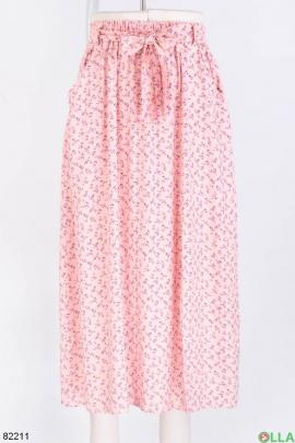 Женская розовая юбка в принт