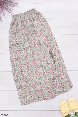 Женская разноцветная юбка в принт с поясом
