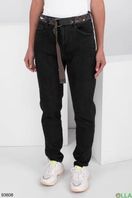 Женские черные джинсы на флисе с поясом