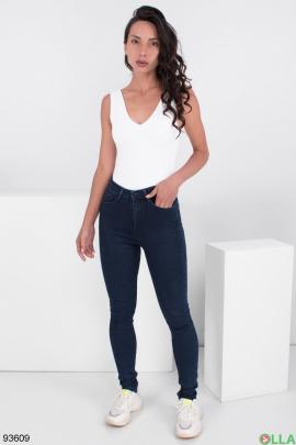 Женские темно-синие джинсы-скинни