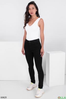 Женские черные джинсы-скинни