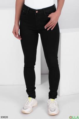 Женские черные джинсы-скинни на флисе