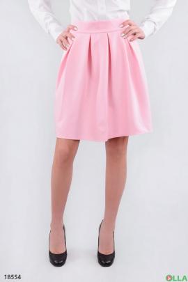 Стильная юбка в складку розового цвета