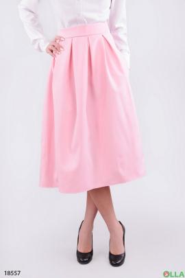 Юбка-миди с карманами розового цвета