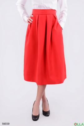 Красная юбка-миди с карманами