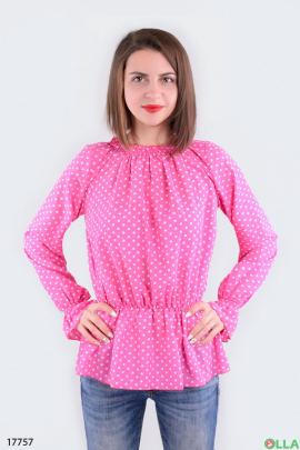 Женская блузка на резинке розового цвета