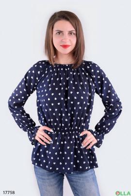 Женская блузка на резинке синего цвета