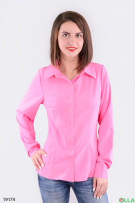 Женская приталенная рубашка малинового цвета