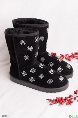 Черные угги со снежинками