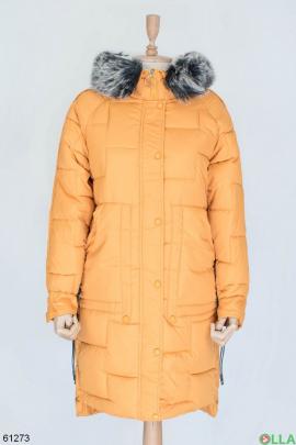 Женская оранжевая зимняя куртка