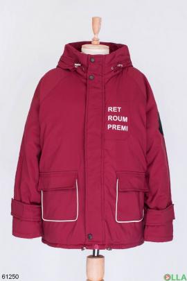 Женская бордовая зимняя куртка