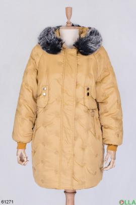 Женская темно-бежевая зимняя куртка