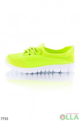 Кроссовки лимонные на шнуровке