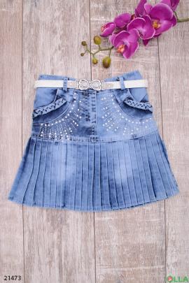 Джинсовая юбка с ремешком