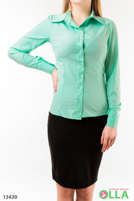 Рубашка с длинным  рукавом однотонная
