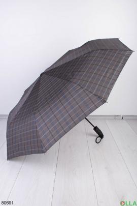 Женский темно-серый зонт в клетку