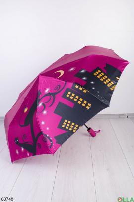 Женский малиновый зонт с принтом