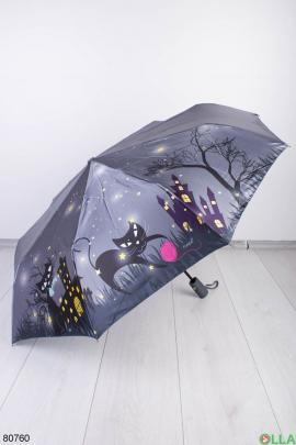 Женский темно-серый зонт с принтом