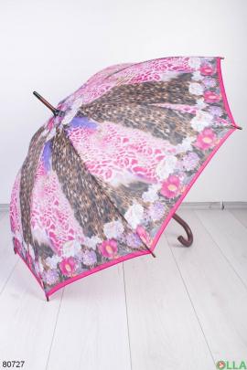 Женский разноцветный зонт с принтом