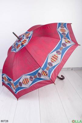 Женский бордовый зонт с принтом