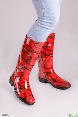 Сапоги красного цвета с принтом