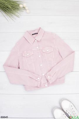 Женская розовая джинсовая куртка