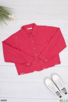 Женская красная джинсовая куртка