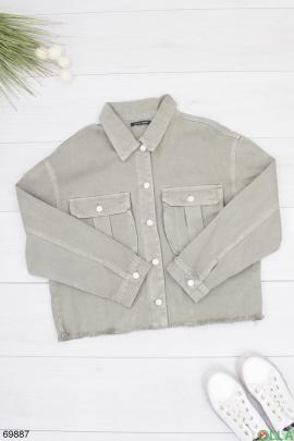 Женская серая джинсовая куртка