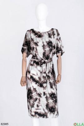 Женское разноцветное платье с поясом