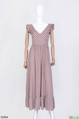 Женское бежевое платье в горох
