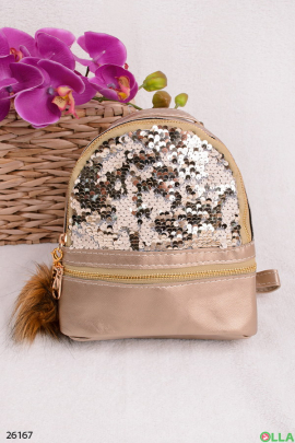 Рюкзак бежевый с пайетками