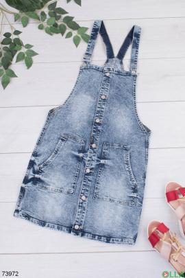 Женский синий джинсовый сарафан