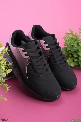 Женские черно-розовые кроссовки на шнуровке