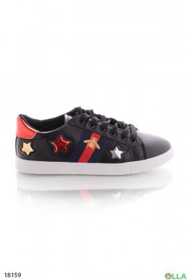 Чёрные кеды со звездами