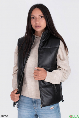 Женский черный жилет из эко-кожи